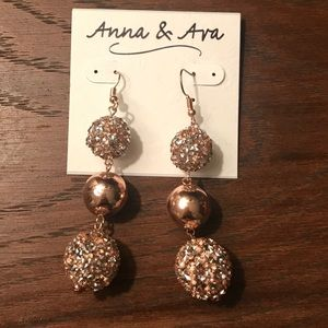 NWT Rose gold dangle ball earrings